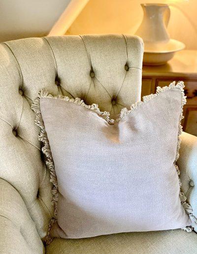 Studio Blackwell Bespoke linen cushions with fan edge trim