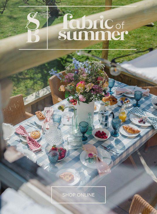 Studio Blackwell Fabric of Summer Handmade Cushions, Table linen, Tuckercloth and Napkins
